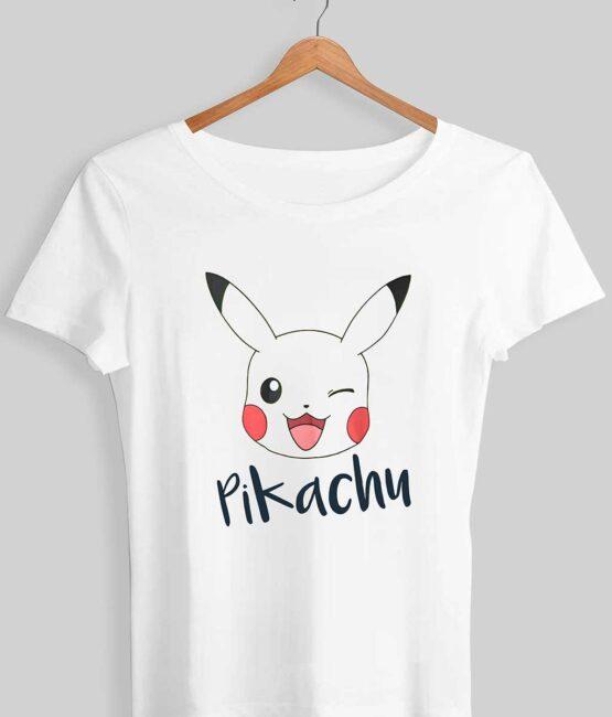 Cute Pikachu With Name T-Shirt For Women